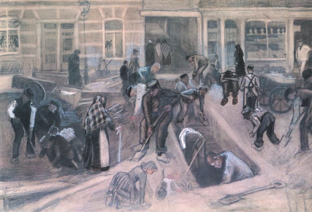 De Opgebroken Noordstraat met spitters uit april 1882. Van Gogh vond composities met meerdere figuren een moeilijke opgave, ondanks dat hij een aantal van de karakters al eerder in tekeningen gebruikte. Hij maakte deze tekening vanuit het huis van de moeder van Sien.