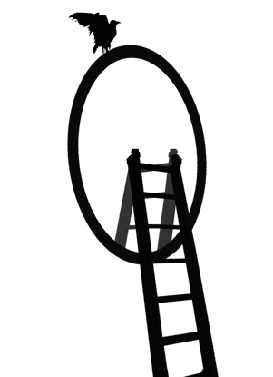 spiegel met een ladder ertegen