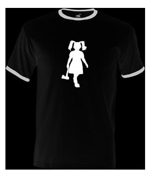 t-shirt met afbeelding van meisje met bijl